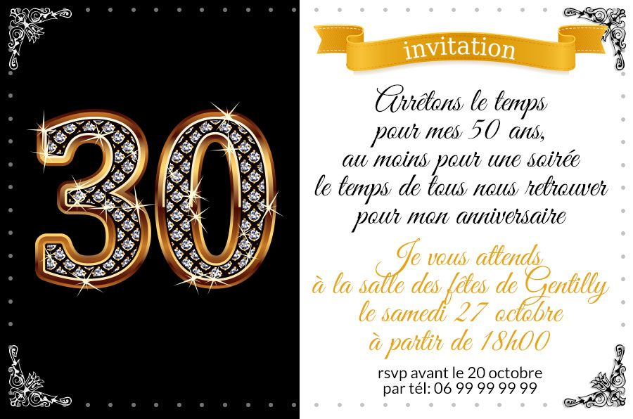 invitation anniversaire 30 ans chiffres diamants 123cartes. Black Bedroom Furniture Sets. Home Design Ideas