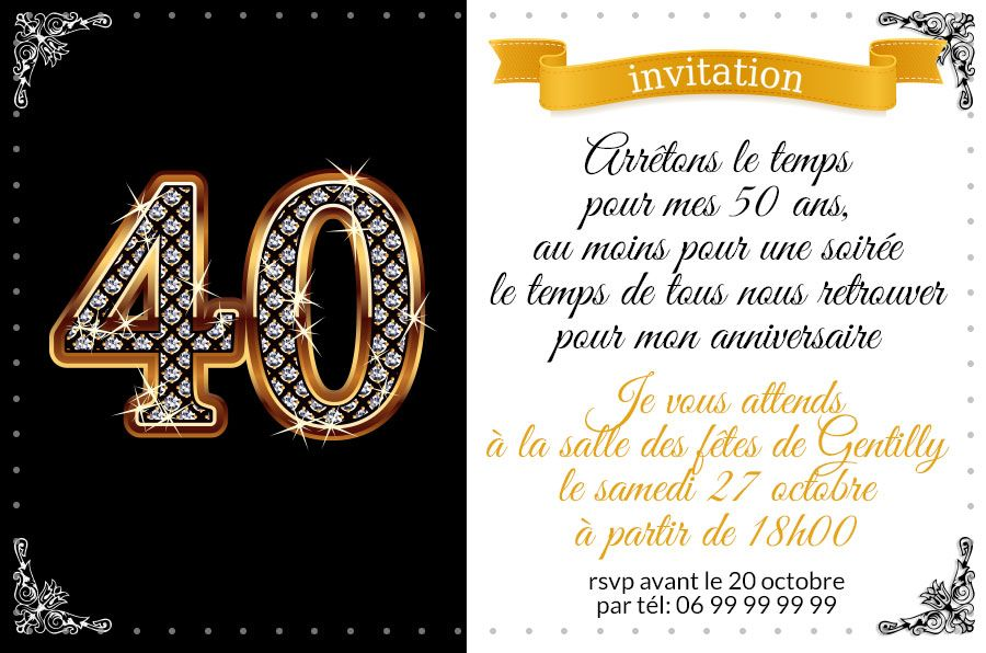invitation anniversaire 40 ans chiffres diamants 123 cartes. Black Bedroom Furniture Sets. Home Design Ideas
