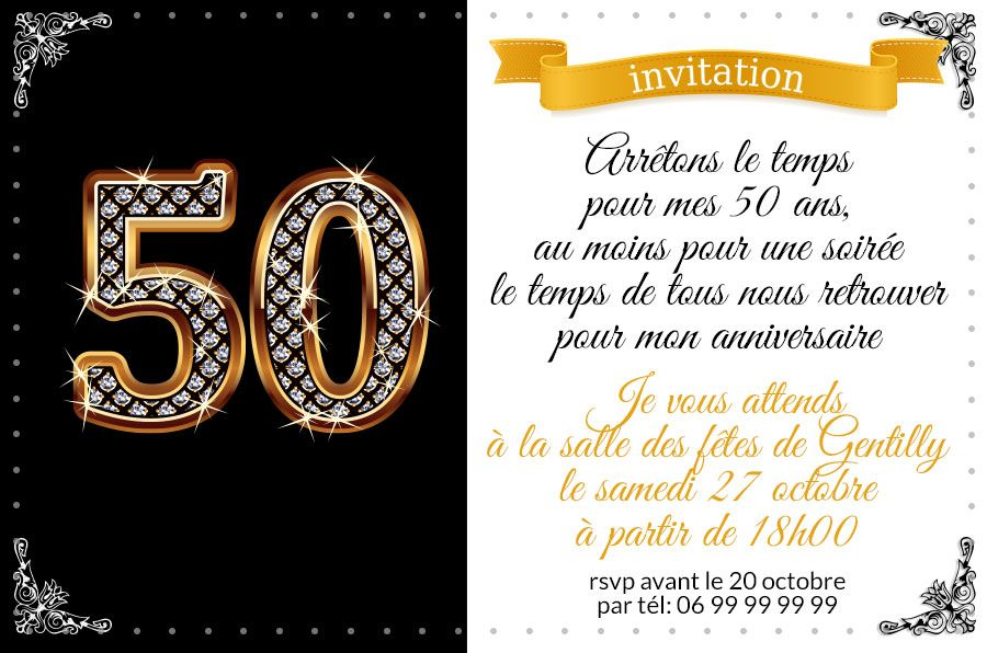 invitation anniversaire 50 ans chiffres diamants 123cartes. Black Bedroom Furniture Sets. Home Design Ideas