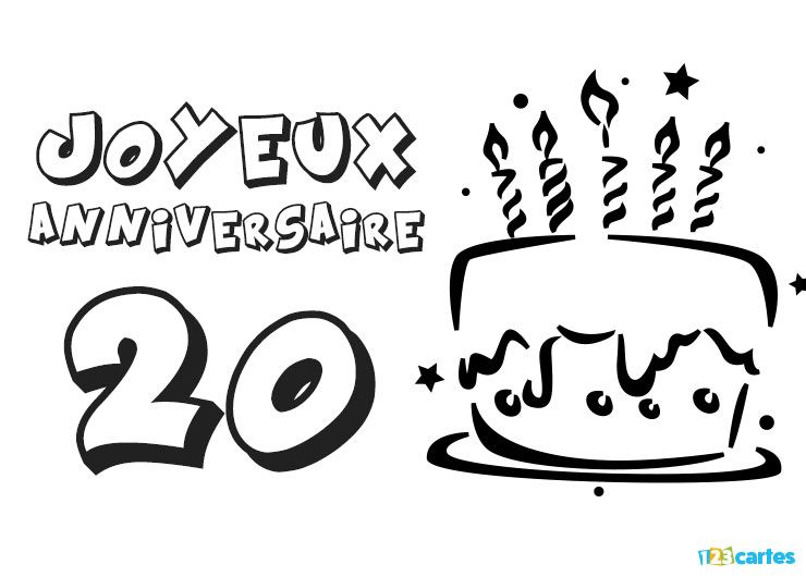 carte anniversaire 20 ans coloriage g teau avec bougies 123 cartes. Black Bedroom Furniture Sets. Home Design Ideas
