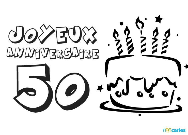 123 cartes carte anniversaire 50 ans coloriage g teau avec bougies. Black Bedroom Furniture Sets. Home Design Ideas