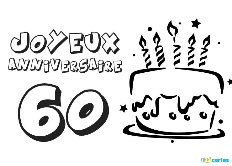 carte anniversaire 60 ans coloriage g teau avec bougies 123 cartes. Black Bedroom Furniture Sets. Home Design Ideas