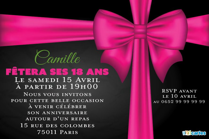 invitation anniversaire 18 ans ruban rose 123cartes. Black Bedroom Furniture Sets. Home Design Ideas