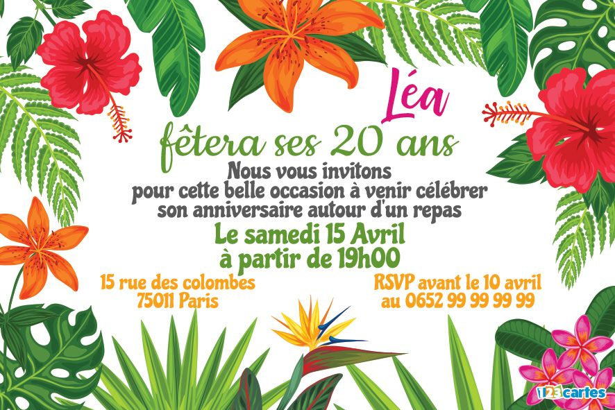 invitation anniversaire 20 ans paradis tropical 123cartes. Black Bedroom Furniture Sets. Home Design Ideas
