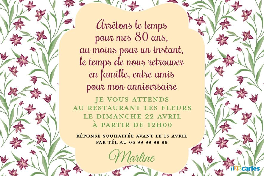 Invitations 80 Ans Cartes Et Invitations Gratuites 123cartes