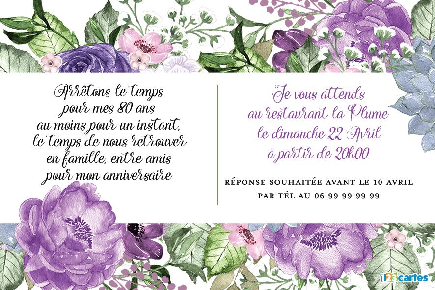 80 Ans Grande Photo Invitation Anniversaire 123cartes