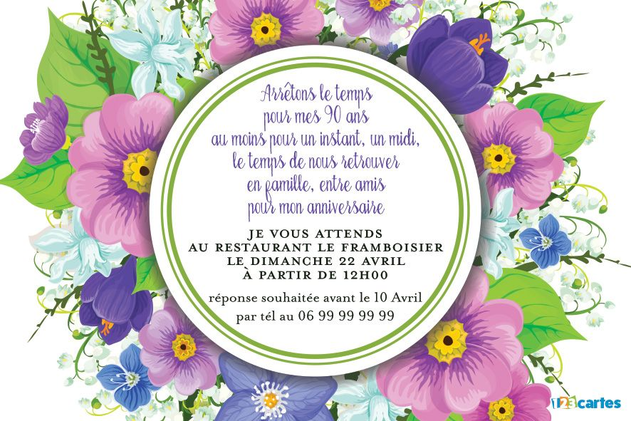 Invitation anniversaire adultes 123 cartes for Bouquet de fleurs 123