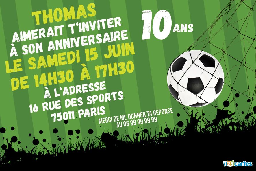 invitation anniversaire 10 ans passion football