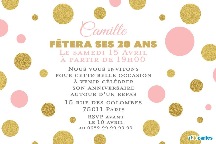 invitation anniversaire 20 ans rose et or 123cartes. Black Bedroom Furniture Sets. Home Design Ideas