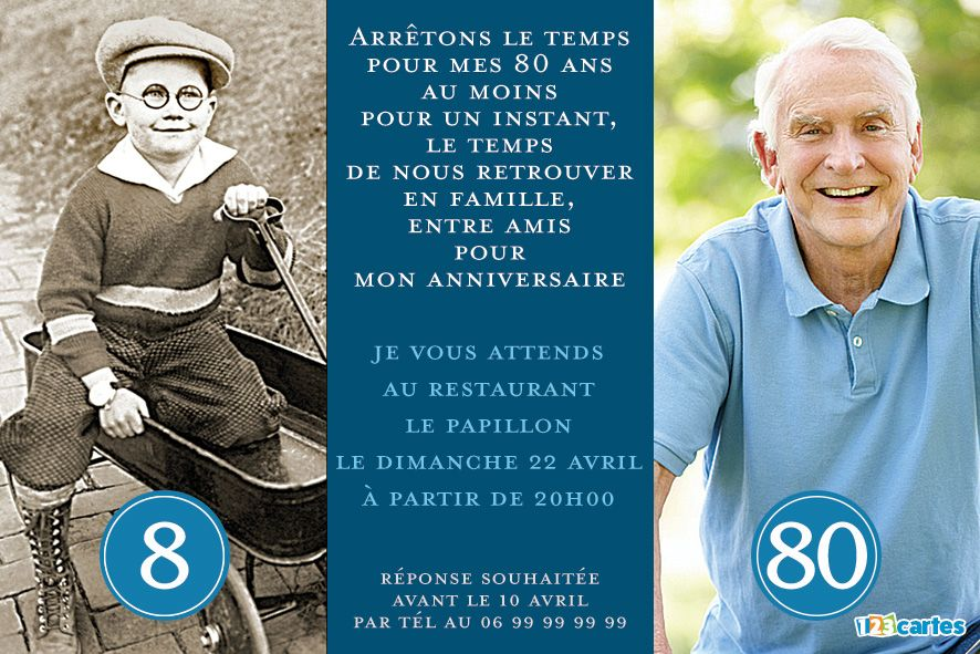 invitation anniversaire 80 ans flash-back