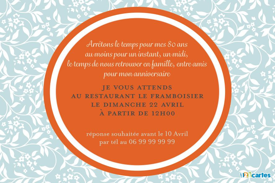 invitation anniversaire 80 ans fruit orange