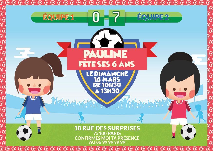 invitation anniversaire football fille