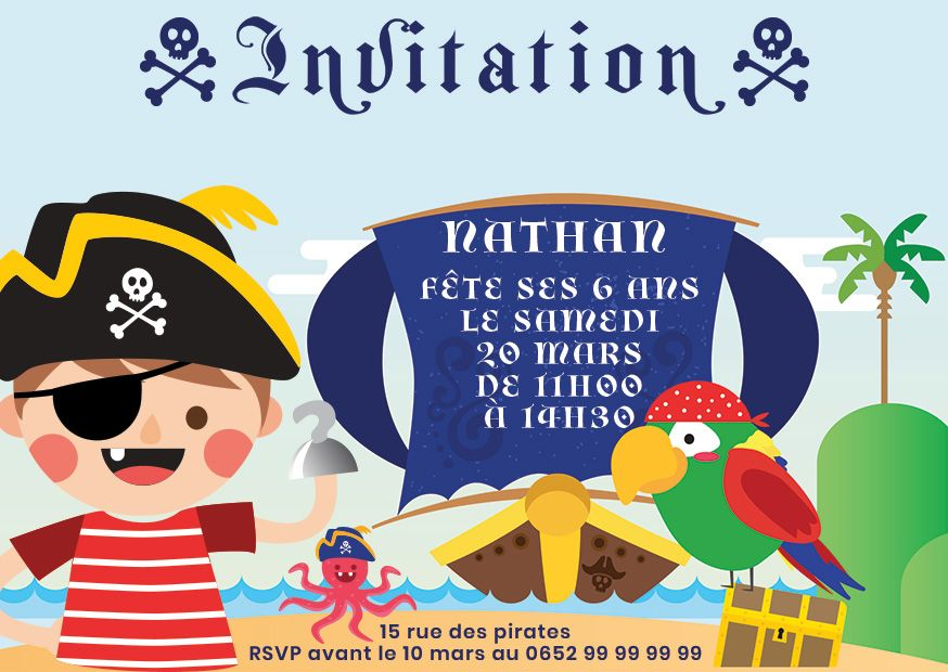 Pirates cartes et invitations gratuites 123 cartes - Invitation anniversaire garcon pirate ...