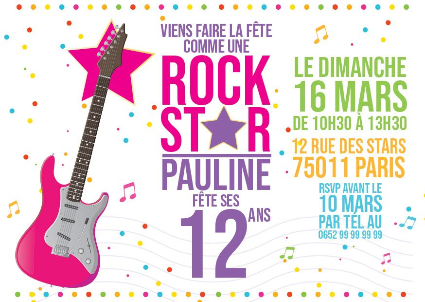 invitation anniversaire rock star