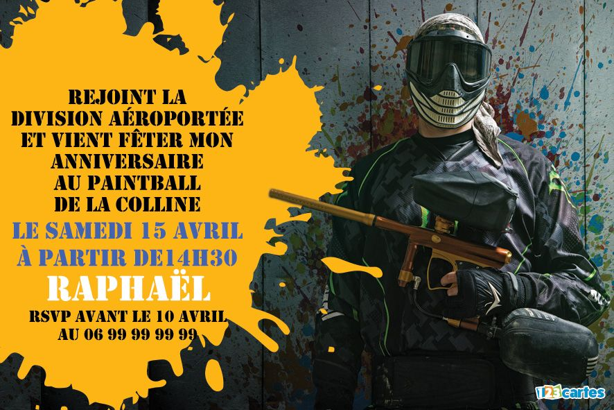 invitation anniversaire paintball tu es enrôlé