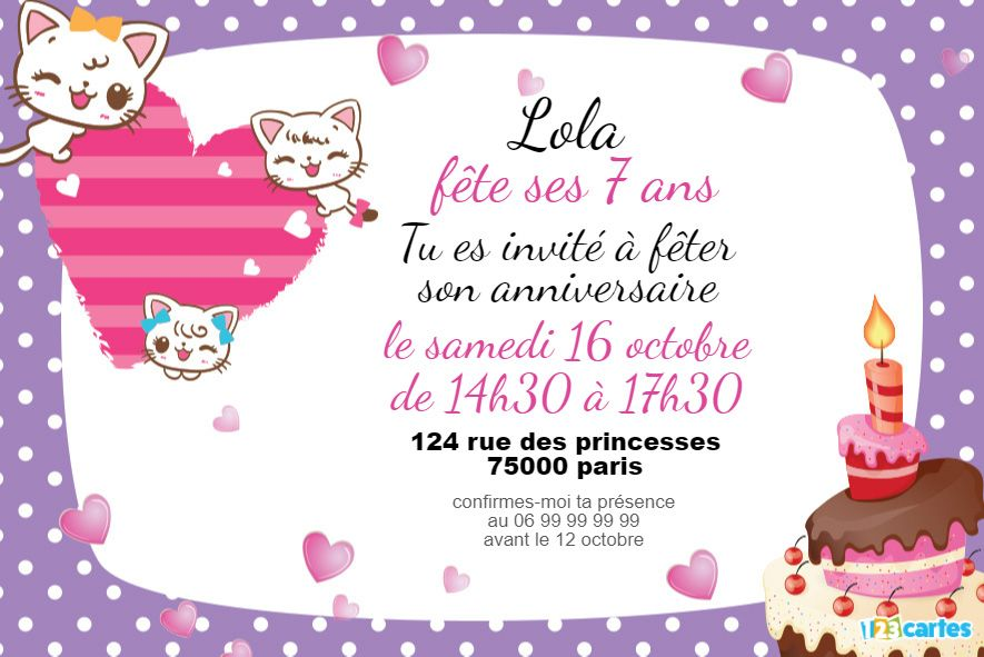 invitation anniversaire adorables chatons blancs