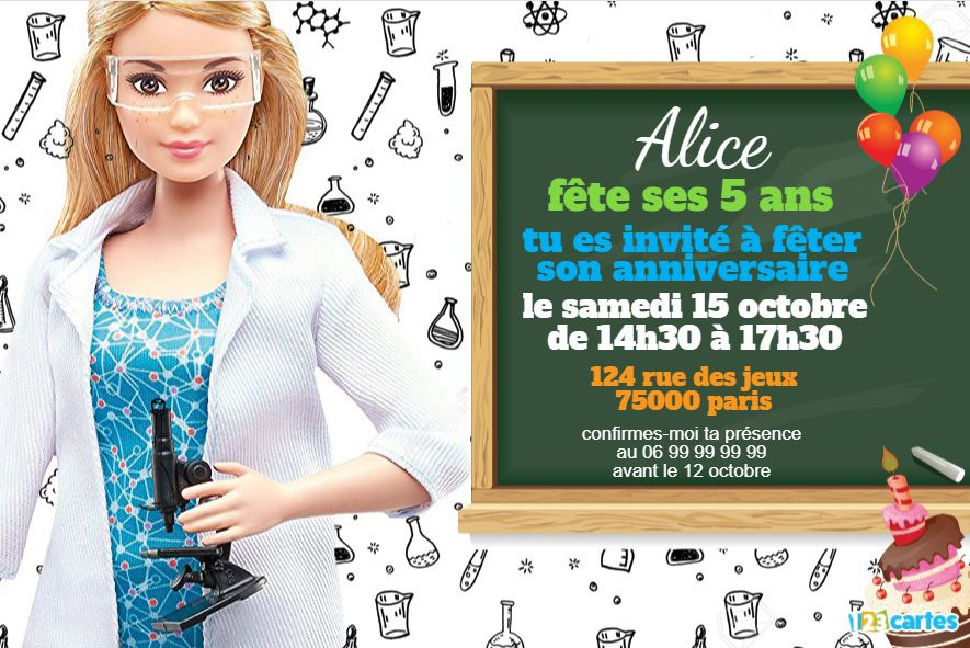 invitation anniversaire barbie scientifique