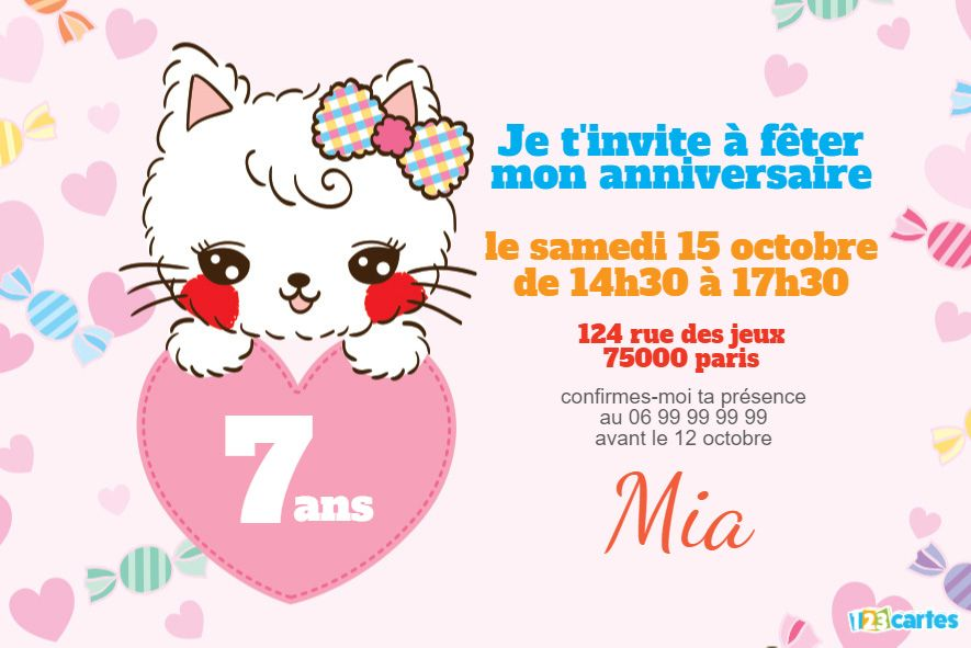 invitation anniversaire chat kawaii