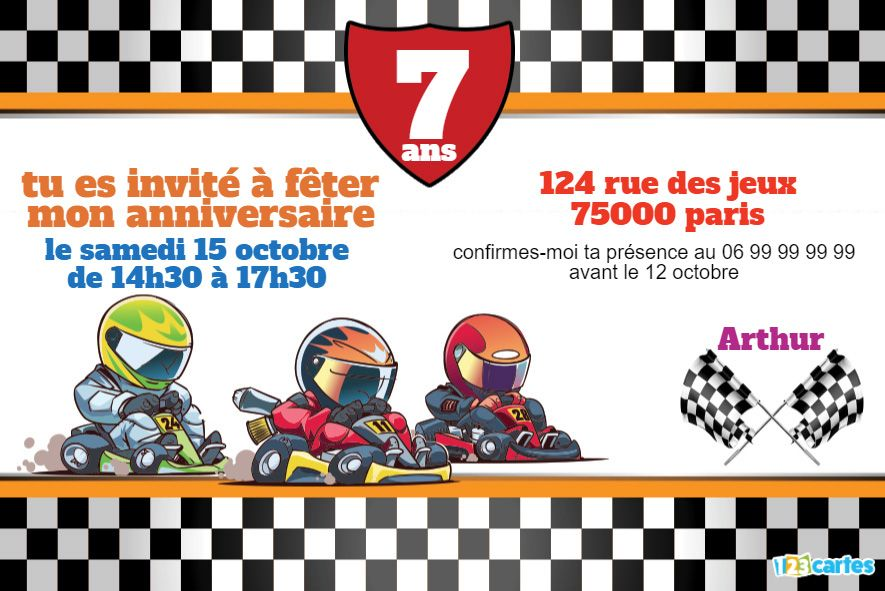 invitation anniversaire course karting
