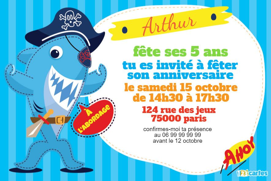 invitation anniversaire le requin pirate