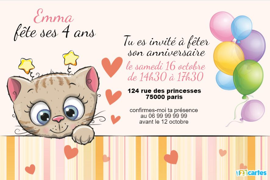invitation anniversaire chaton au nez rose