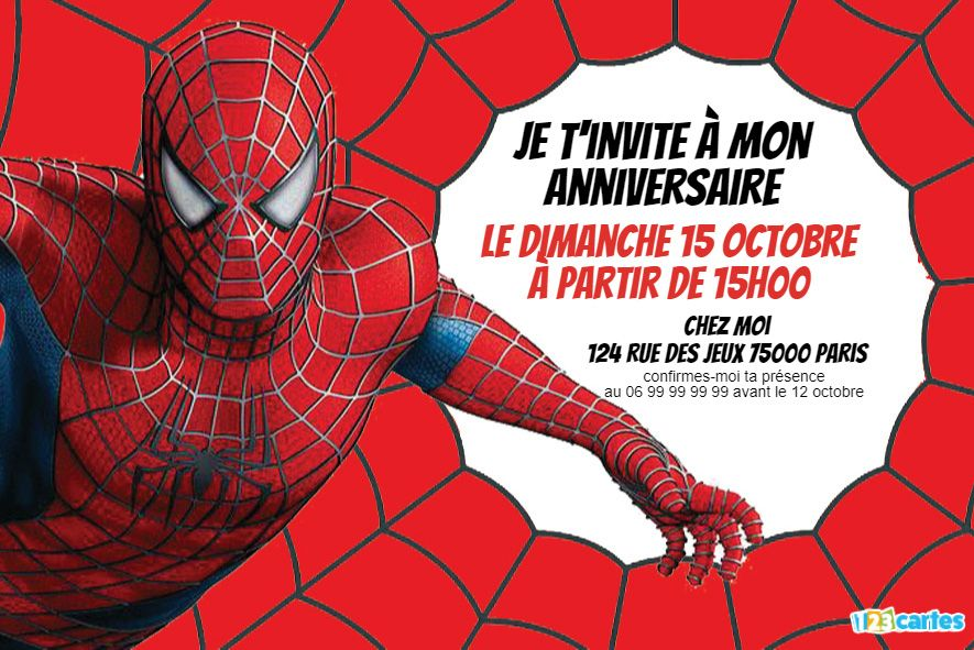 invitation anniversaire spider-man force surhumaine