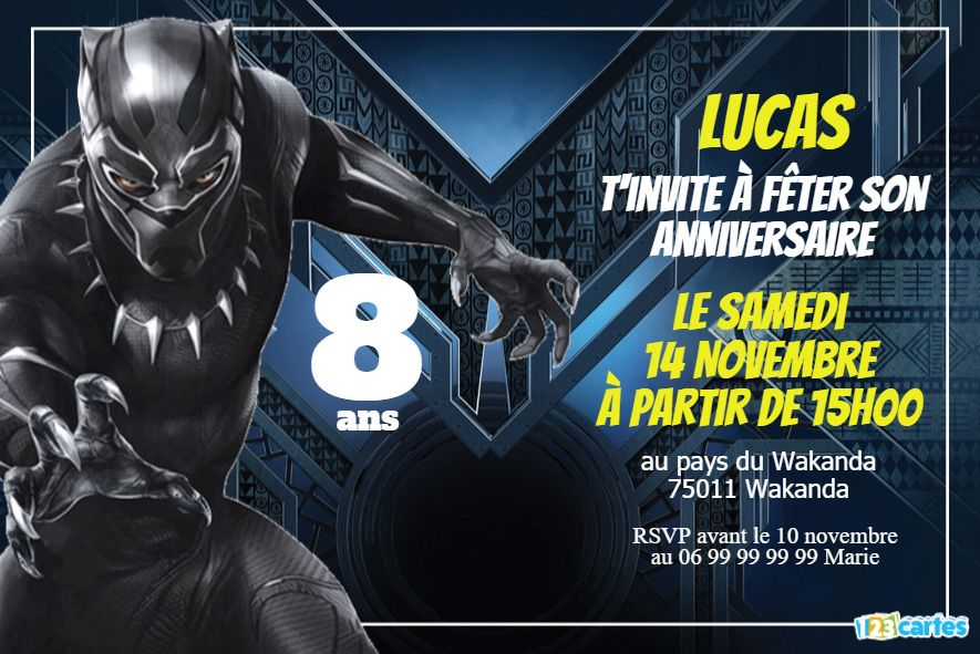 Invitation anniversaire Black Panther