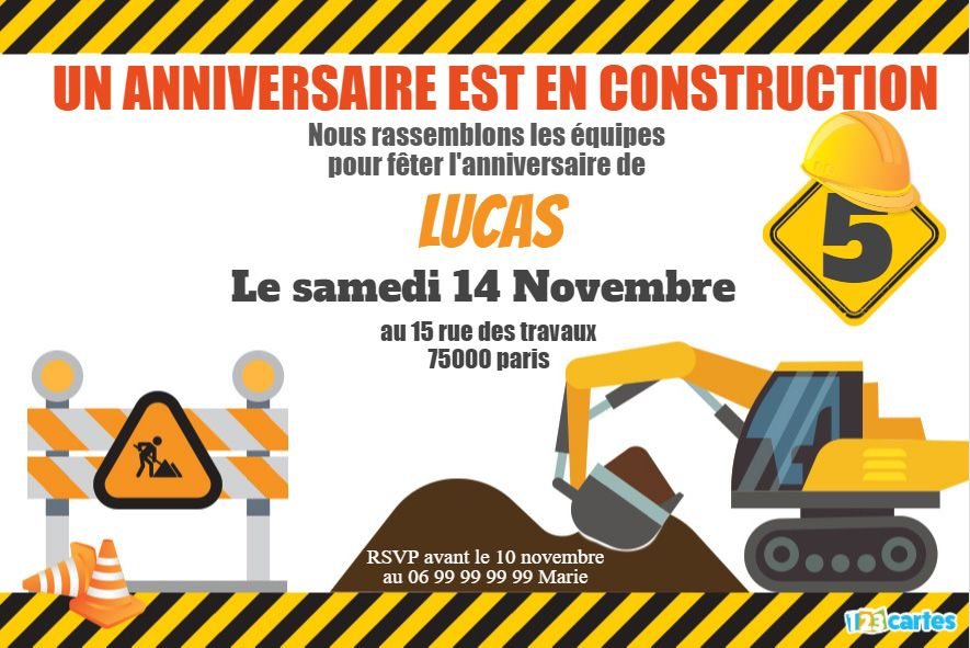 invitation un anniversaire en construction