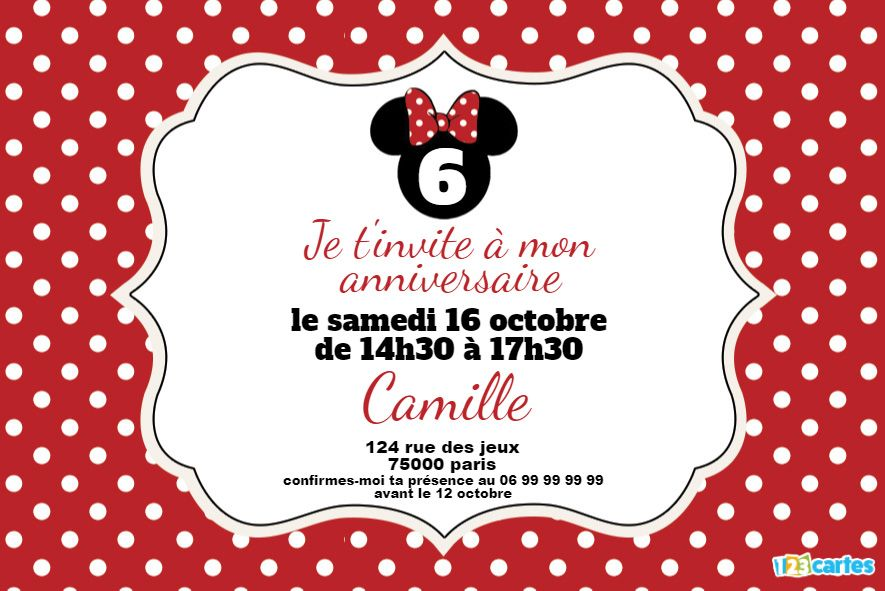 invitation anniversaire minnie mouse