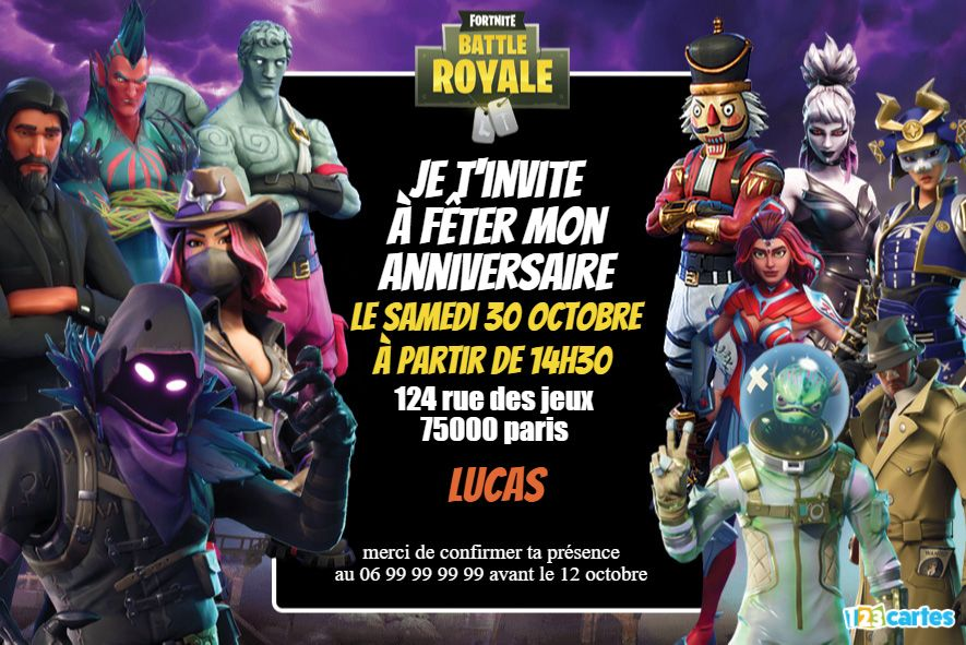 Fortnite battle royale – Invitation anniversaire