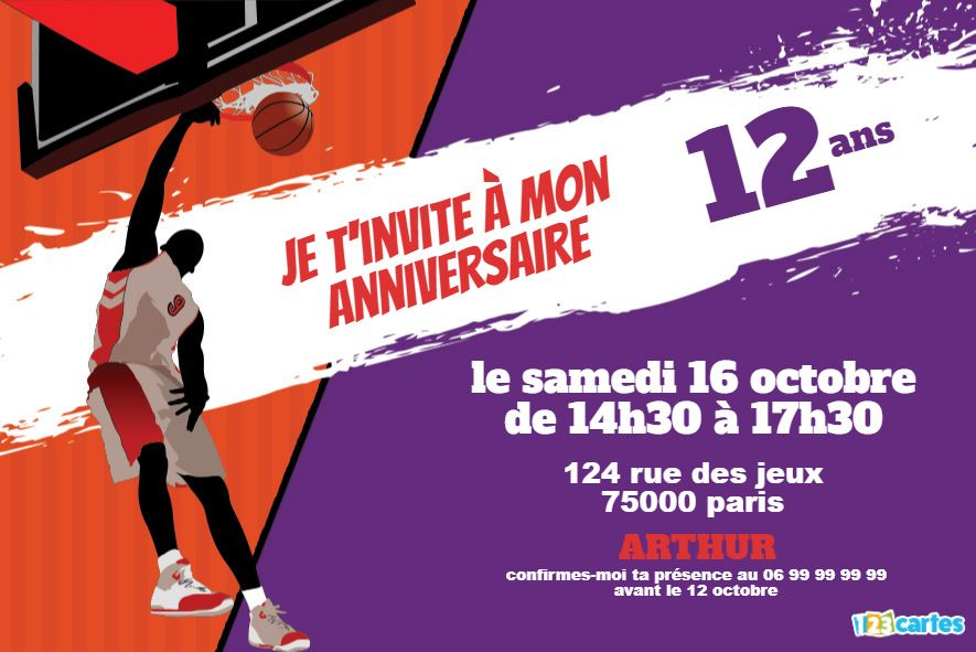 invitation anniversaire basket slam dunk