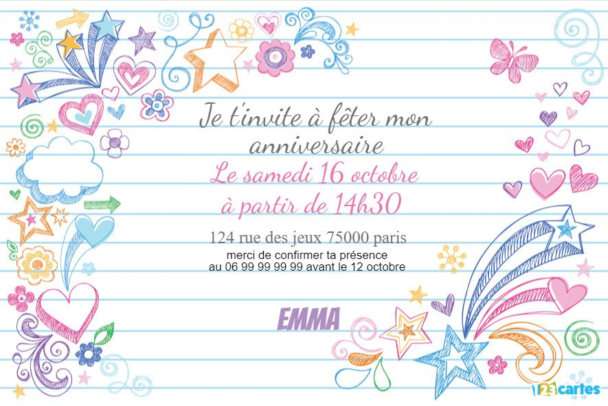 invitation anniversaire mes dessins sur carnet de notes