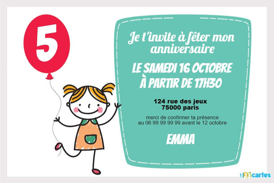invitation anniversaire la fille au ballon rouge