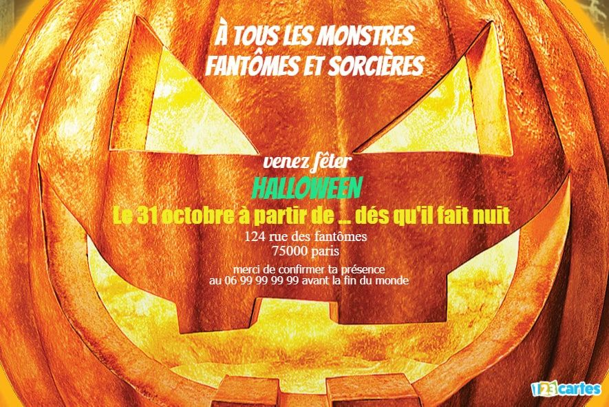 invitation Halloween citrouille monstre