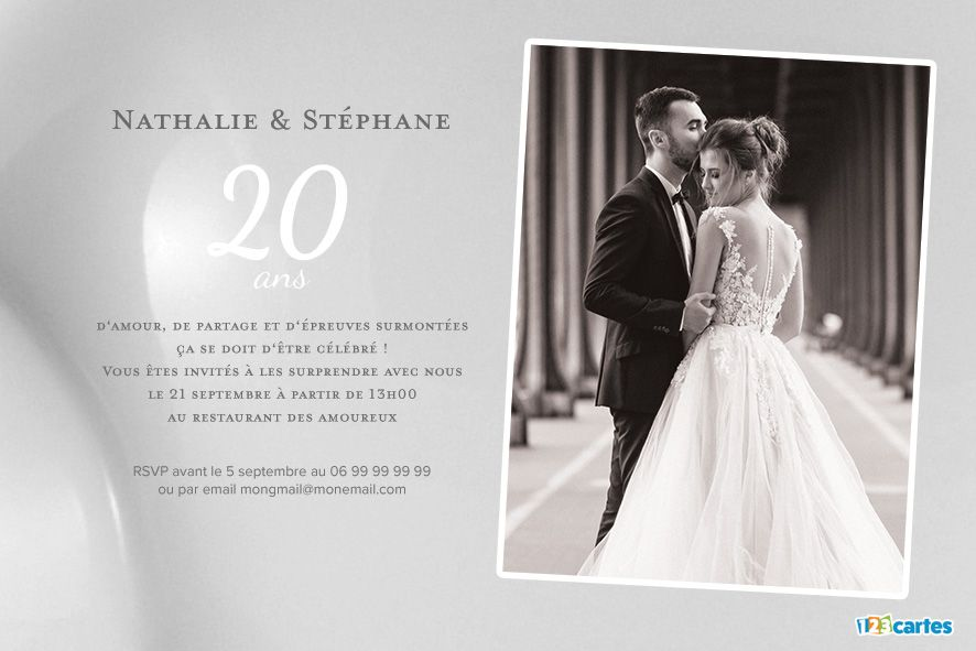 20 ans noces de porcelaine avec photo invitation. Black Bedroom Furniture Sets. Home Design Ideas
