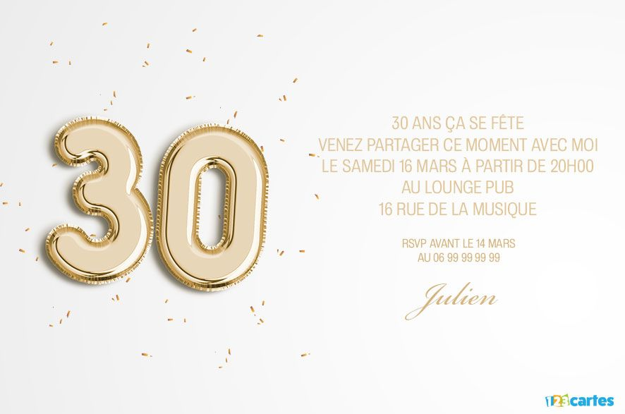 30 ans ballons ge invitation anniversaire 123cartes. Black Bedroom Furniture Sets. Home Design Ideas