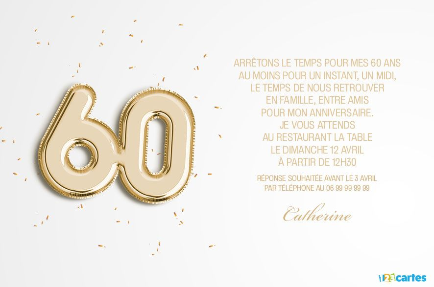 Invitation Anniversaire Surprise 60 Ans 123cartes
