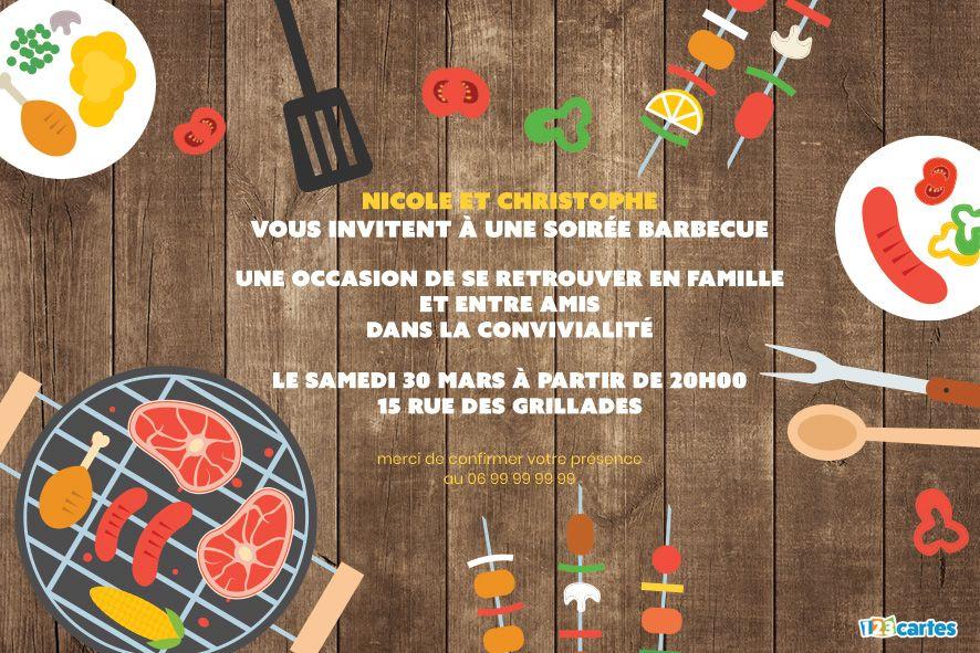 Autour de la table - Invitation soirée Barbecue