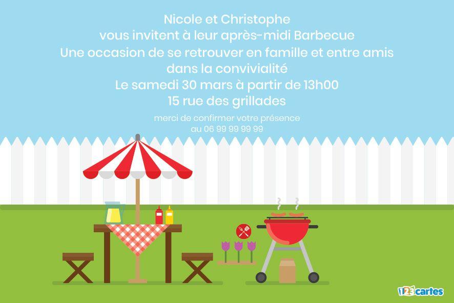 table avec parasol et barbecue rouge dans un jardin