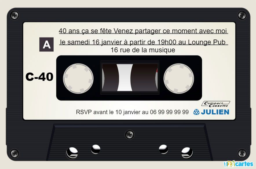 Cassette audio – Invitation anniversaire