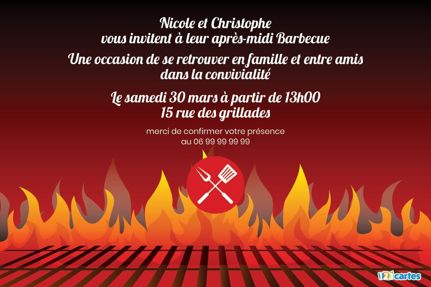 Invitation Feu Barbecue