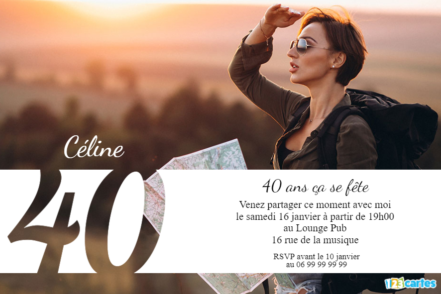 40 ans grande photo - Invitation anniversaire adulte