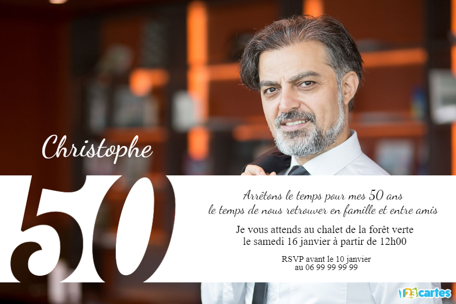 50 ans grande photo - invitation anniversaire adulte
