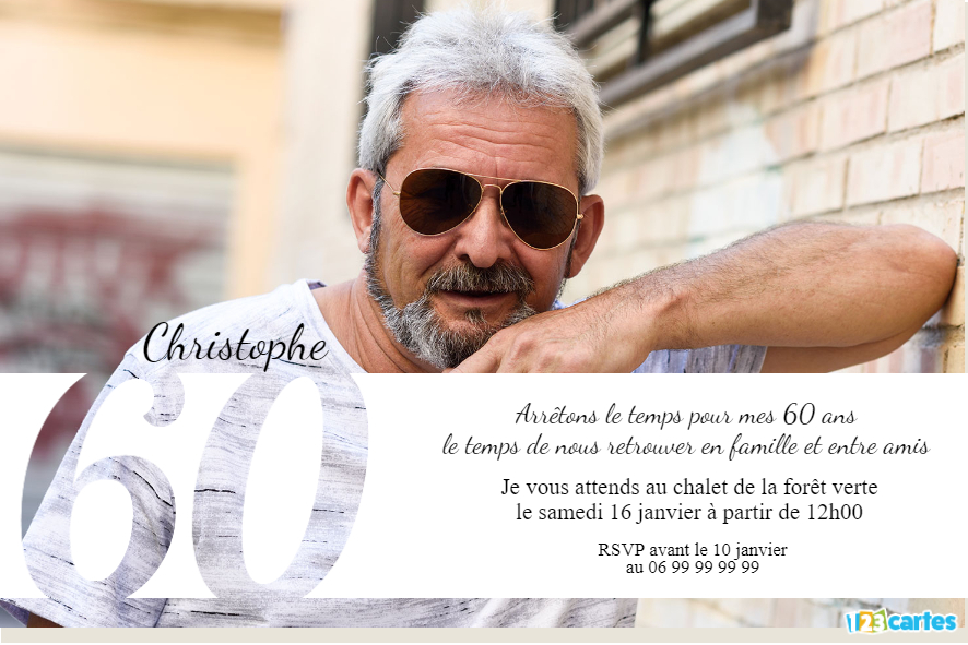 Grande photo 60 ans - Invitation anniversaire adulte