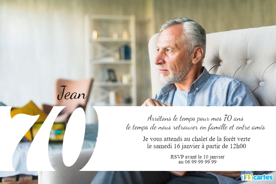 70 ans grande photo - Invitation anniversaire adulte