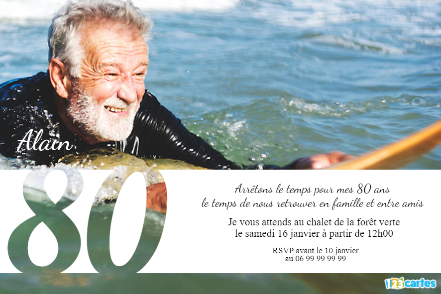 80 ans grande photo - Invitation anniversaire adulte