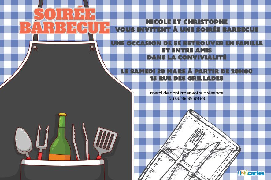 Invitation Tablier Barbecue