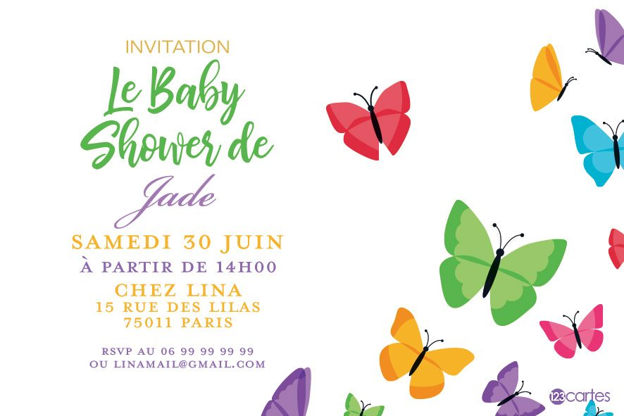 papillons multicolores - Invitation baby shower - 123cartes