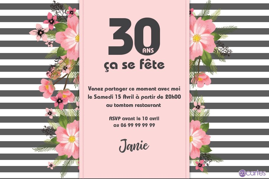all e des fleurs invitation anniversaire 30 ans 123cartes. Black Bedroom Furniture Sets. Home Design Ideas