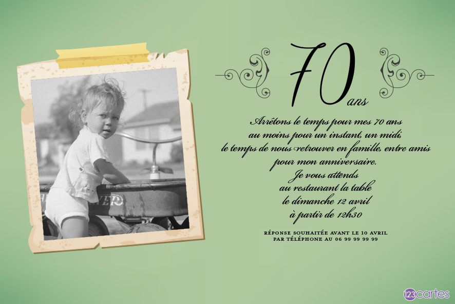 ancienne photo - invitation anniversaire 70 ans - 123cartes